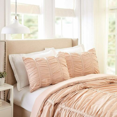 Details about  /Blush Pink Stripe Ruched 3 pc Comforter Set Twin XL Full Queen King Glam Bedding