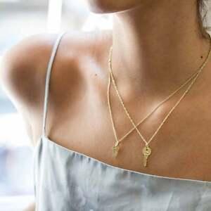 14K-Yellow-Gold-Key-Pendant-Love-Charm-Women-Men-Necklace