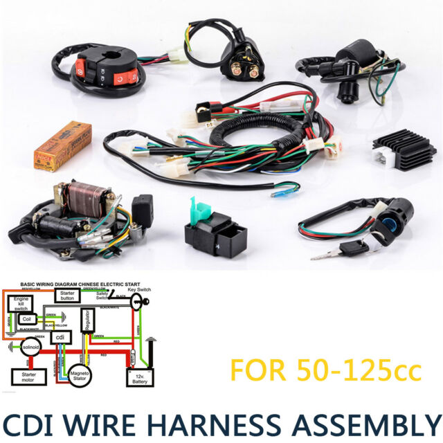 ATV Complete Wiring Harness CDI Stator Ignition Electric Mini 50 70 on