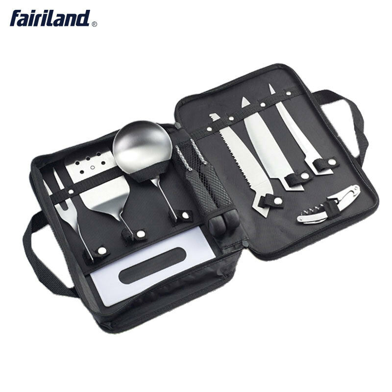 Outdoors Cooking Equipment Cookware 8 Pieces Kit  Cookset for camping, hiking  good reputation