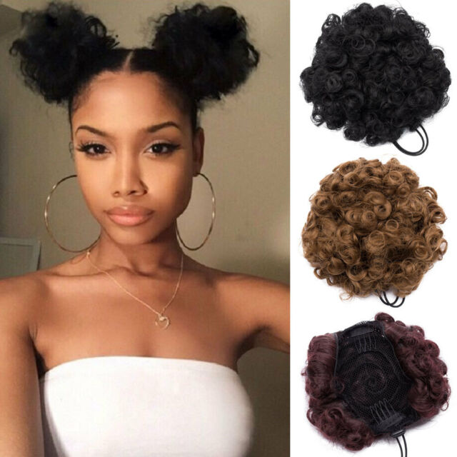 Real Natural as Human Clip on/in Messy Hair Twin Afro Bun Extensions Chignon US