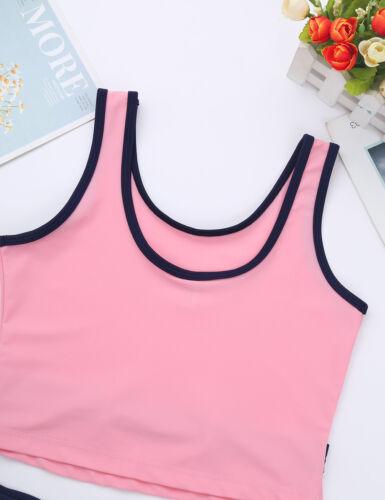 Mädchen Bikini Set UV-Schutz Schwimmanzug Kinder Tank Tops Gestreifter Rock