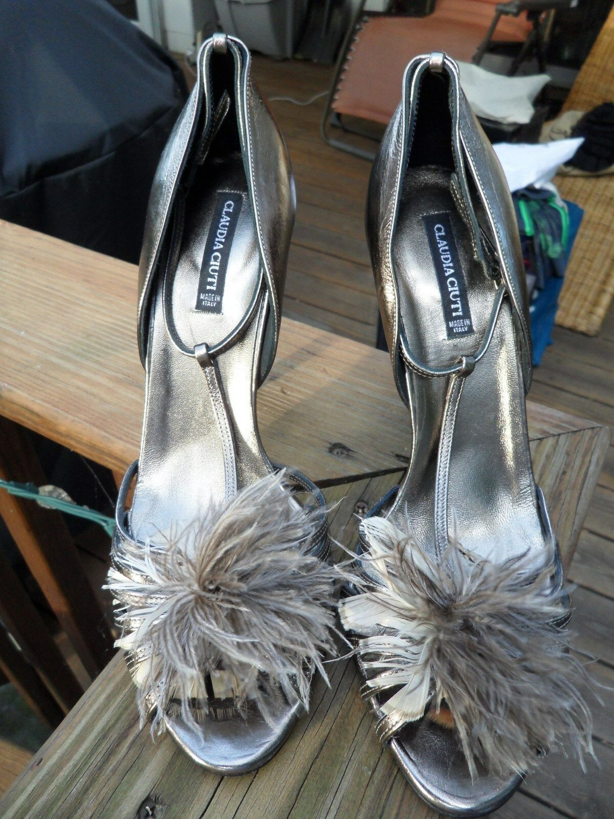 Claudia Ciuti Metallic Bronze Open Open Open Toe T-strap Heels, Größe 9 11983b