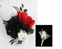 2pc Set:wrist Corsage&boutonniere-prom Wedding Bridal Silk Flower-red,black
