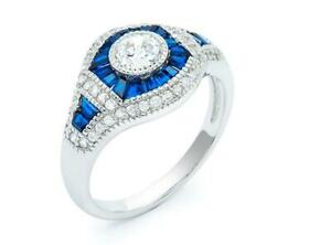Platinum Sterling Silver Blue & White Sapphire Evil Eye Halo Good Luck Ring Sz6