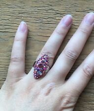 Stunning Vintage Style Rhinestone Dress Ring/Crystal Statement/Cocktail/Pink/Big