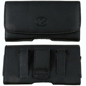 Black-Leather-Case-Holster-fits-w-silicone-case-on-For-HTC-Cell-Phones