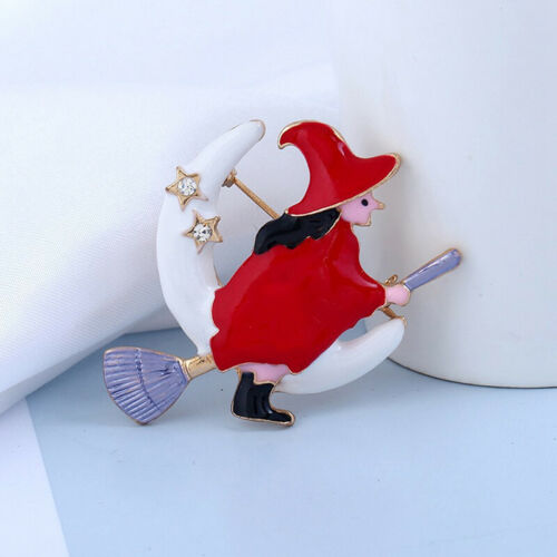 TRENDY Red Witch Flying Mop épingles Strass Broche Clip Femmes Collier Bijoux G