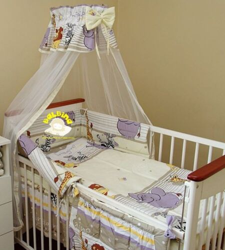 10 Pcs Baby Nursery Bedding Set fit Cot 120x60 or Cot Bed 140x70cm-CANOPY//Bumper