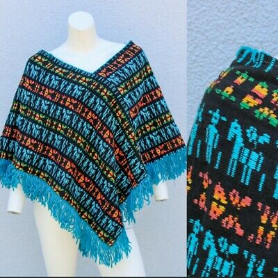Unique Knitted Vintage 60/'s PONCHO with fringe