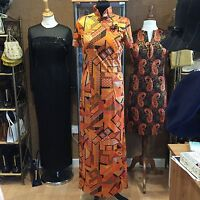 true vintage 1960's Festival Fancy Dress CHINESE STYLE MAXI DRESS -SIZE uk 10