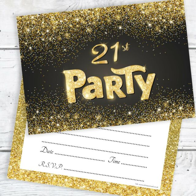 21st Birthday Invitations Black And Gold Glitter Effect With Envelopes Pack 10