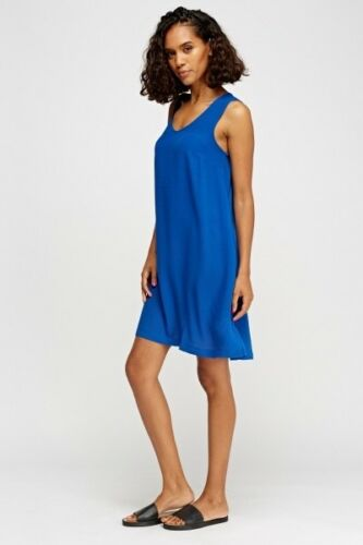 Ladies New Sleeveless Tops Summer Beach Swing Long Stylish Dress UK SIZE 6-16