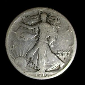 1916-D-WALKING-LIBERTY-SILVER-HALF-DOLLAR-50c-DENVER-MINT-KEY-DATE-COIN-Cleaned