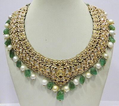 Vintage antique enamel work Solid 20K Gold Diamond emerald pearl Necklace choker