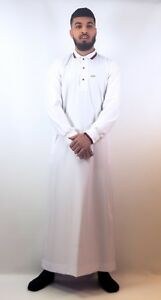 Mens-Designer-034-The-Man-034-Jubba-Design-Slim-Fit-White-Polo-Thobe-Dubai-UK-SELLER