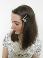 2 x Silver Snowflake Hair Clips Slides Winter Wedding Bridal Bobby Pins Vtg A52
