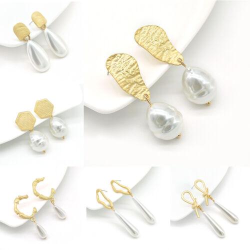 Punk Pearl Stud Earrings Gold Geometric Irregular Charm Drop Dangle Ear Jewelry