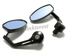"""Universal Black Motorcycle 7/8"""" Handle Bar End Rear View Side Mirrors Round Pair"""