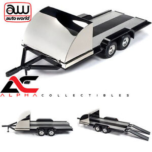 AUTOWORLD-1-18-AMM1166-TANDEM-AXLE-TRAILER-WITH-BLACK-SHIELD-FENDERS