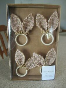 Set 4 Easter Napkin Rings Pink Bunny Rabbit Ears Woven Gold Bead Isaac Mizrahi 648594017174 Ebay