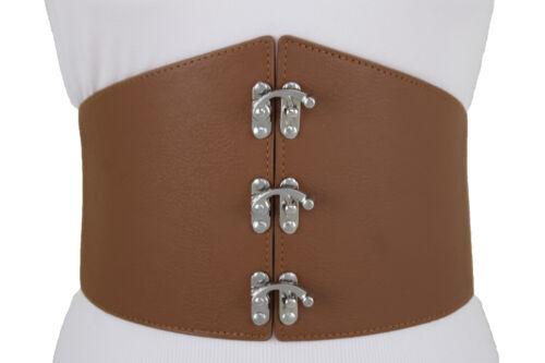 Fun Women Fashionable Belt Hip Waist Wide Brown Bling Fancy Silver Hook L XL XXL