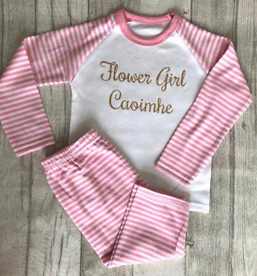 GeïMporteerd Uit Het Buitenland Personalised Flower Girl Pink White Stripe Pyjamas Baby Sleepwear Pjs Wedding