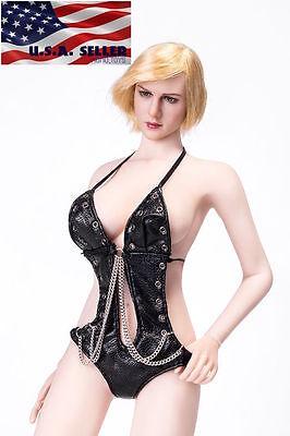 """1//6 en cuir Trench Coat Set Beige Pour 12/"""" Phicen TBLeague Hot Toys figure féminine"""