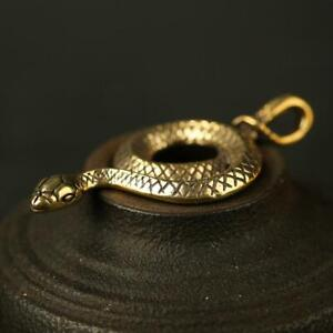 Antique-Brass-Snake-Pendant-Small-Statue-Old-Chinese-Zodiac-Pocket-Gift-Ornament