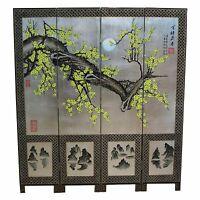 reduced Display Model Silver Leaf With Blossom Room Divider Oriental Furniture