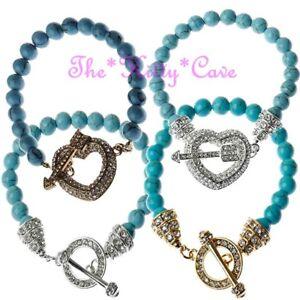 Genuine-Semi-Precious-Turquoise-Beads-Heart-Toggle-Meditation-Healing-Bracelet