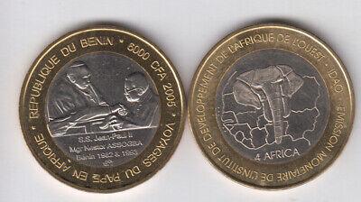 not legal tender coinage GUINEA 6000 CFA 2003 bimetal President Conte