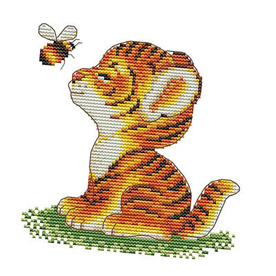 Tiger Bee Stamped Cross Stitch Kit for Beginners 14CT Counted Dimensions DIY