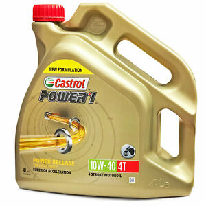 Castrol Power 1 4T 10w-40 Motorcycle 4 Stroke Engine Oil 10W40 4 Litre 4L