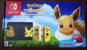 NEW-Nintendo-Switch-Pikachu-amp-Eevee-Edition-with-Pokemon-Let-039-s-go-Eevee-Bundle