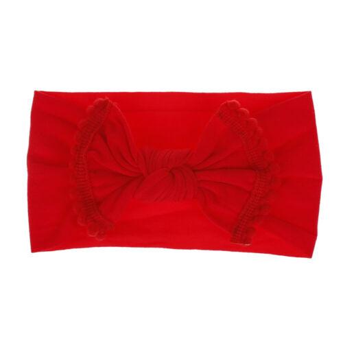 Hot Baby Kid Big Bow Hairband Elastic Turban Knot Head Wrap Tassels Headband