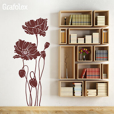 Wandtattoo • Mohnblumen • Mohn Blumen Wandsticker Aufkleber Wand Deko Blume w310