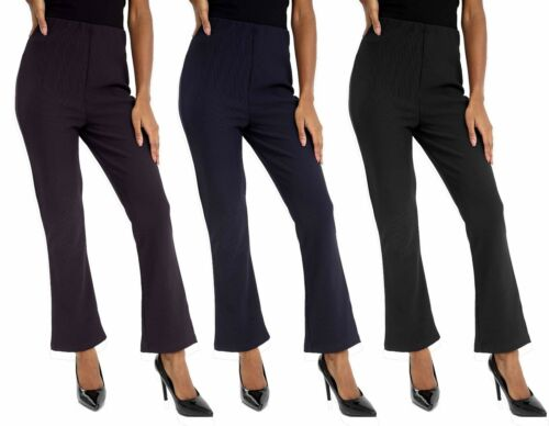 New Women Ladies Soft Stretch Bootleg Leg Trousers Black Pants Plus Size 10-26