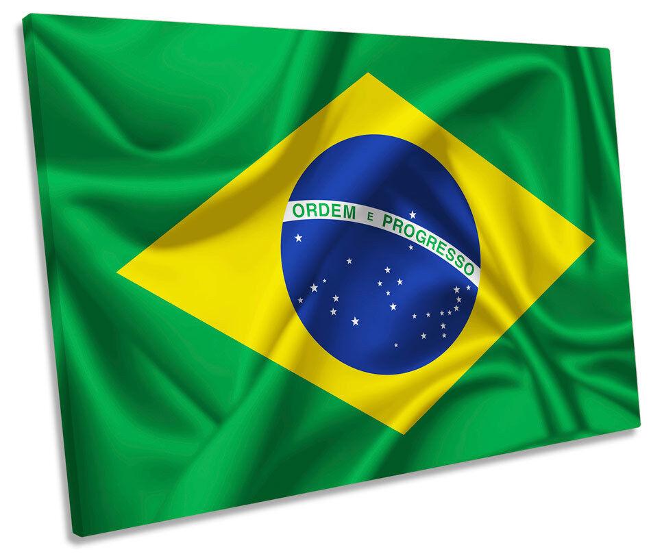 Brazil Flag SINGLE CANVAS WALL ART Framed Print