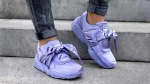 quality design b8e40 ada82 Details about New PUMA RIHANNA Size 9 FENTY Purple Satin Bow Sneakers Shoes