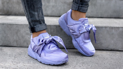 9 FENTY Purple Satin Bow Sneakers Shoes