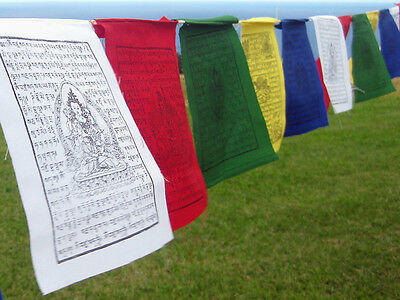HQ Nepal Cotton ~ TIBETAN PRAYER FLAGS ~ Vertical Pole Style with green border