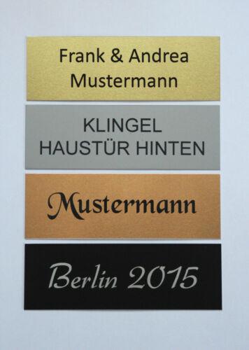40x10mm silber Aluminium T/ürschild mit Wunschtext Schild Namensschild Klingelschild Pokalschilder Briefkastenschild selbstklebend