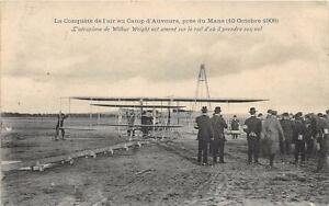 CPA-AVIATION-LA-CONQUETE-DE-L-039-AIR-AU-CAMP-D-039-AUVOURS-PRES-DU-MANS-1908-L-039-AEROPLAN