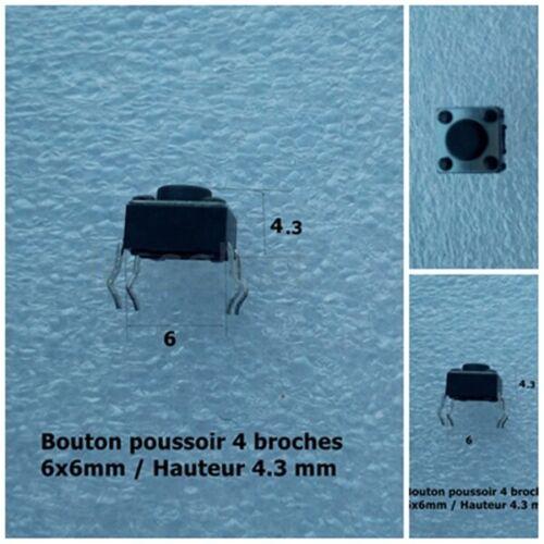 4.3mm switch  .F12.1 6 6 4.3mm bouton poussoir 4 pins broches push button h