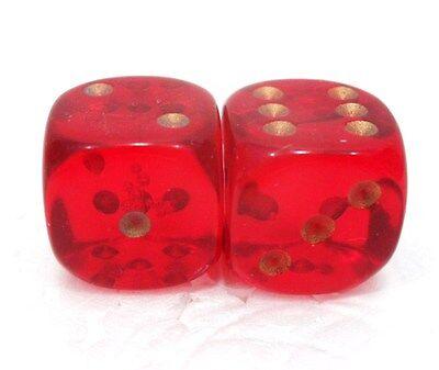 """15 mm /""""2 trasparenti chiari a 6 facce/"""" Coppia di dadi pallini oro"""