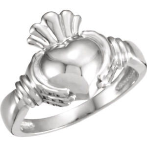 Sterling-Silver-925-Men-or-Women-039-s-Irish-Claddaugh-Ring-Love-Loyalty-Gift