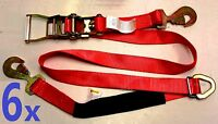 6 Axle Straps Car Hauler Trailer Auto Tie Down Ratchet Flatbed Towing Van Red
