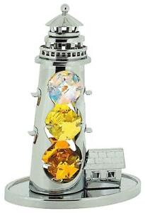 Crystocraft Gratis Stehend Grand Leuchtturms Ornament Versilbert Made Mit Swar