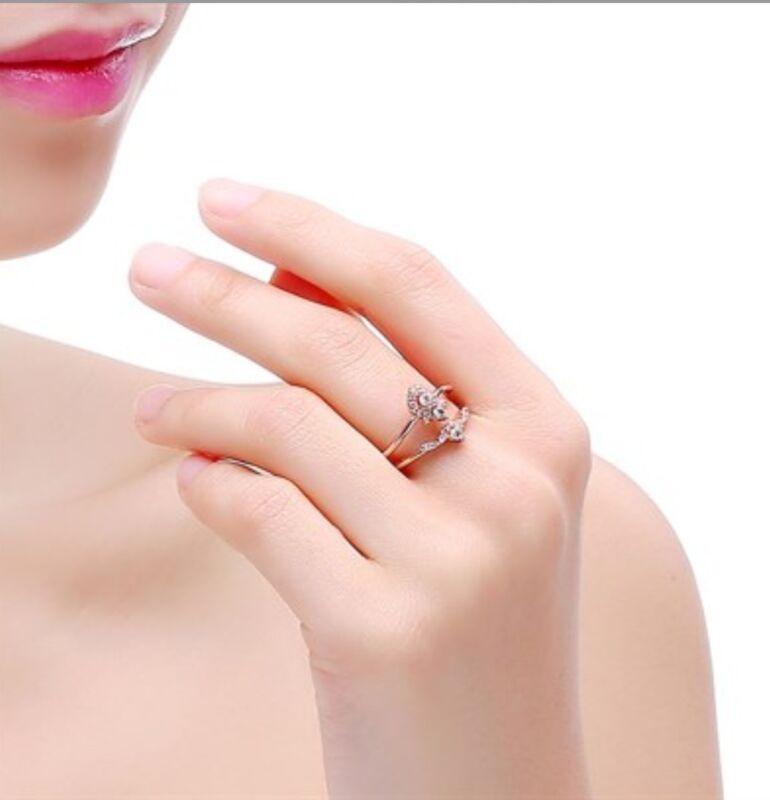 18k Rose Gold Plated Adele Ring Swarovski Elements Crystal Adjustable